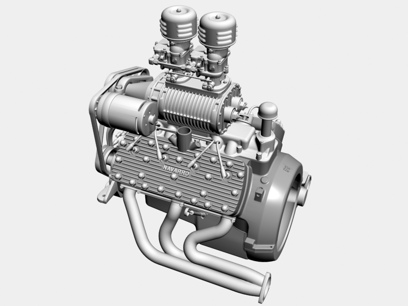 early flathead with s.co.t. blower v8 engine 3d model 3ds 138391