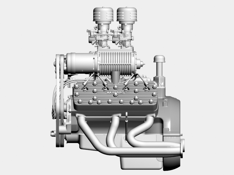 early flathead with s.co.t. blower v8 engine 3d model 3ds 138394