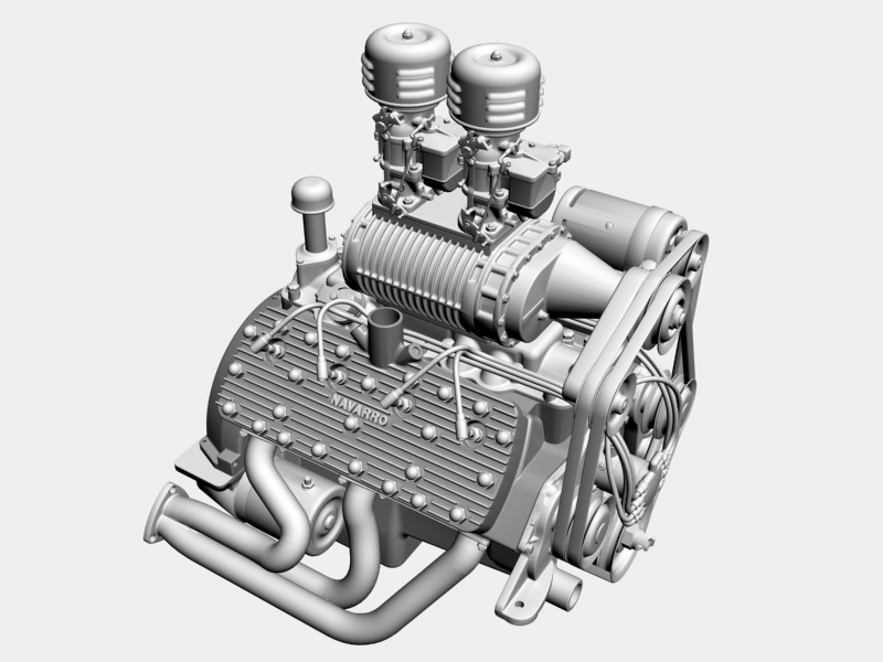 early flathead with s.co.t. blower v8 engine 3d model 3ds 138396