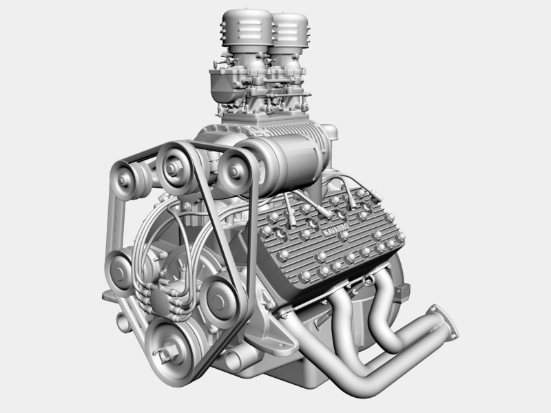 early flathead with s.co.t. blower v8 engine 3d model 3ds 138397