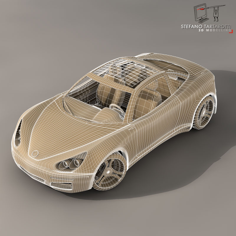 electric concept sports car 3d model 3ds dxf fbx c4d obj 141523