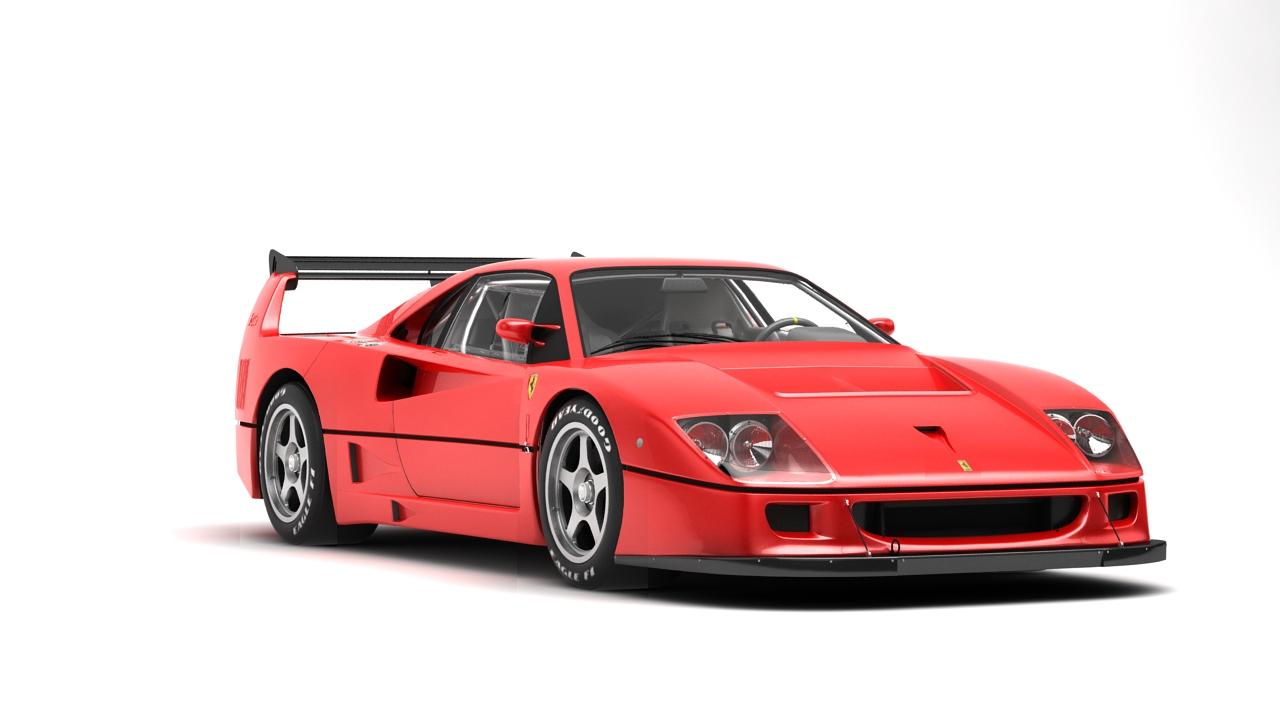 Ferrari F40 Competizione 89 3d Model Flatpyramid