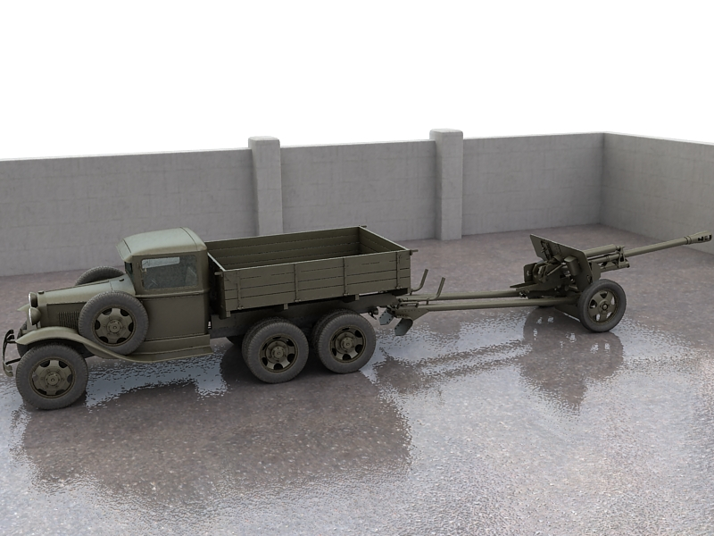 gaz-aaa truck with antitank gun zis-3 3d model max 155610