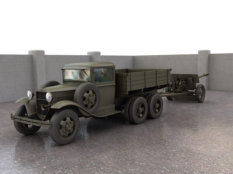 gaz-aaa truck with antitank gun zis-3 3d model max 155611