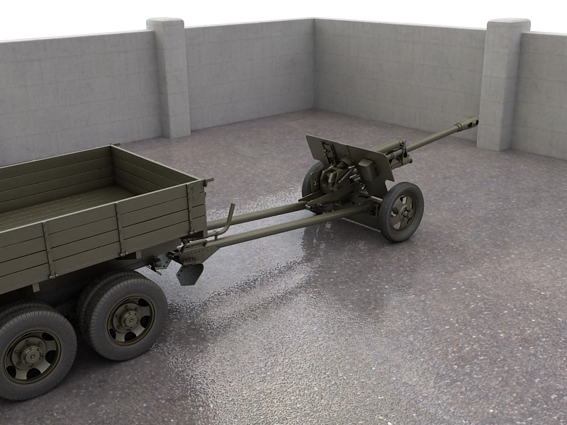 gaz-aaa truck with antitank gun zis-3 3d model max 155612