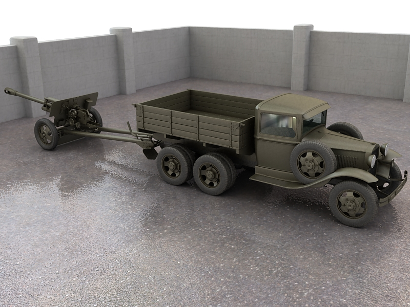 gaz-aaa truck with antitank gun zis-3 3d model max 155614