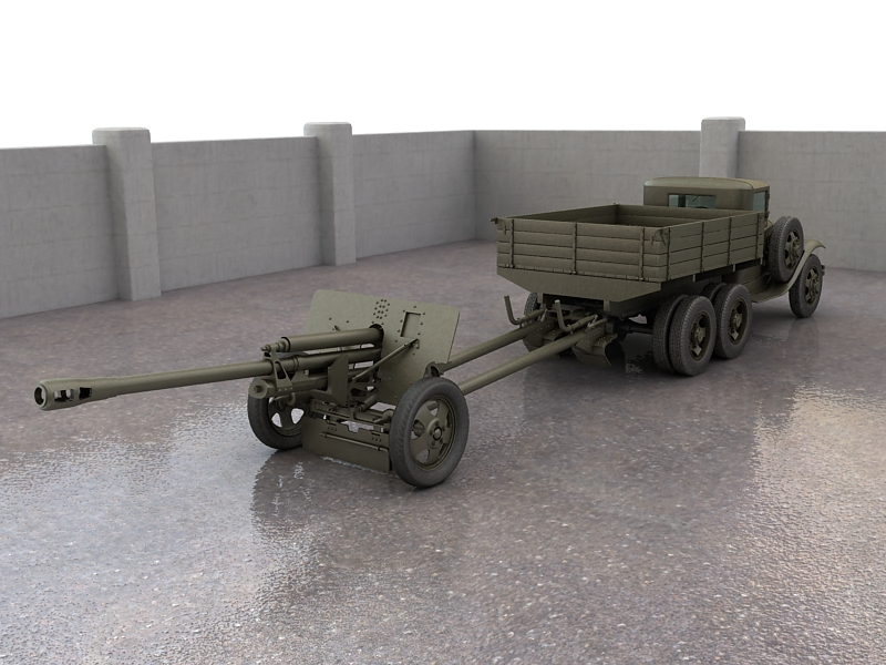 gaz-aaa truck with antitank gun zis-3 3d model max 155615