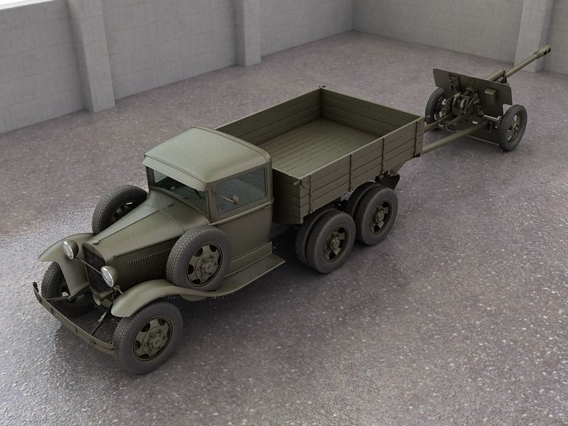gaz-aaa truck with antitank gun zis-3 3d model max 155616