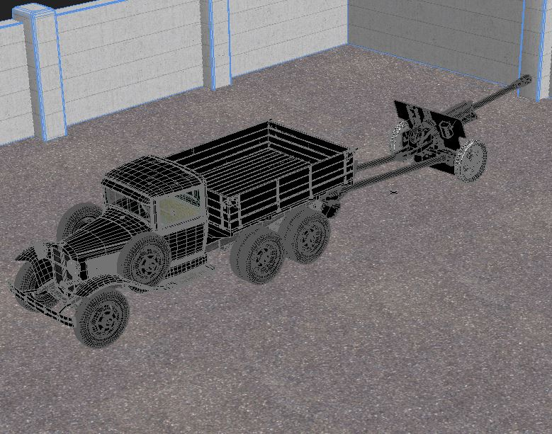 gaz-aaa truck with antitank gun zis-3 3d model max 155617