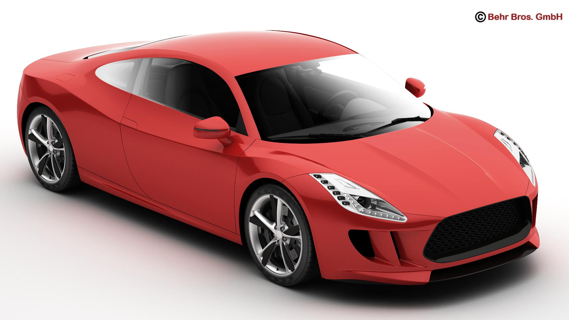 generic sports car 3d model 3ds max fbx c4d lwo ma mb obj 160515