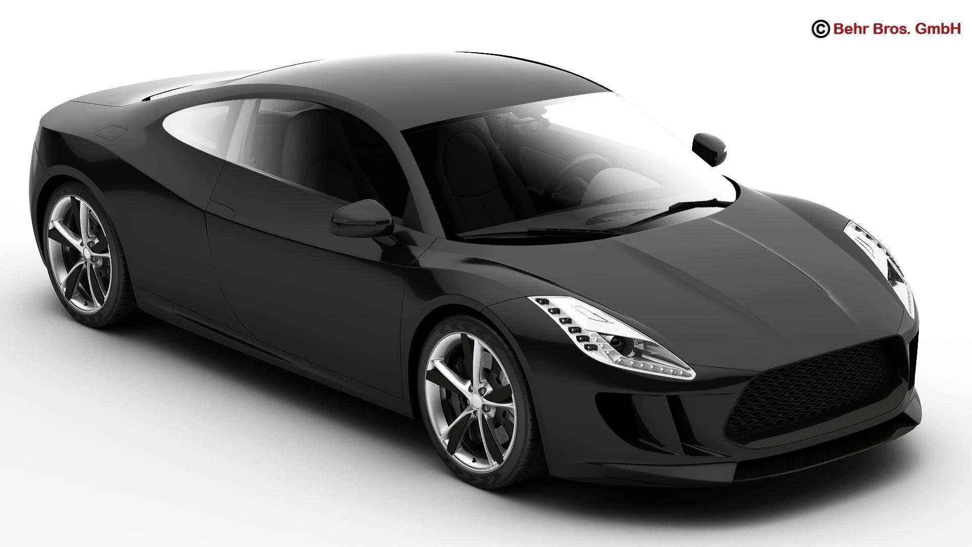 generic sports car 3d model 3ds max fbx c4d lwo ma mb obj 160516