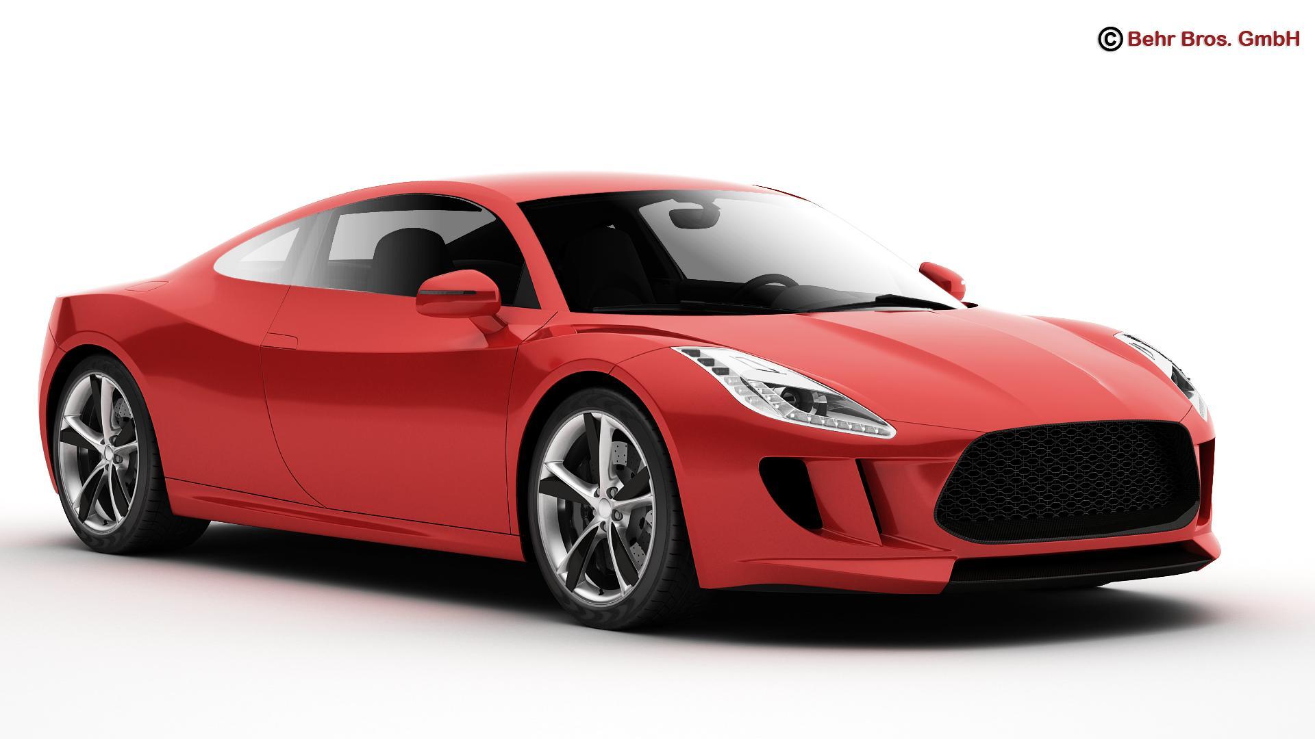 generic sports car 3d model 3ds max fbx c4d lwo ma mb obj 160517