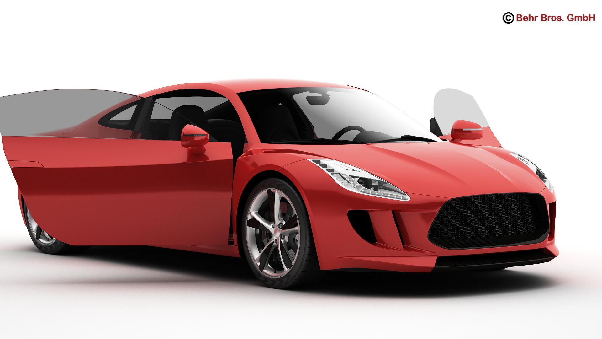 generic sports car 3d model 3ds max fbx c4d lwo ma mb obj 160519