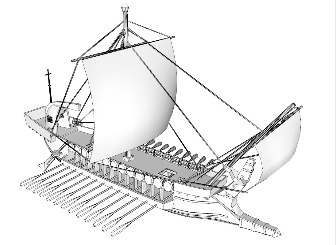 greek ship 3d model 3ds dxf dwg skp obj 163569