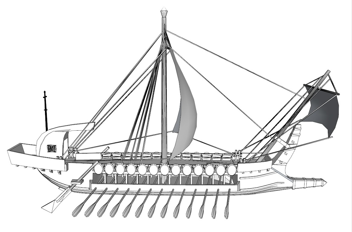 greek ship 3d model 3ds dxf dwg skp obj 163570