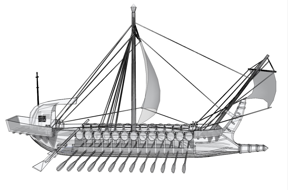 greek ship 3d model 3ds dxf dwg skp obj 163571