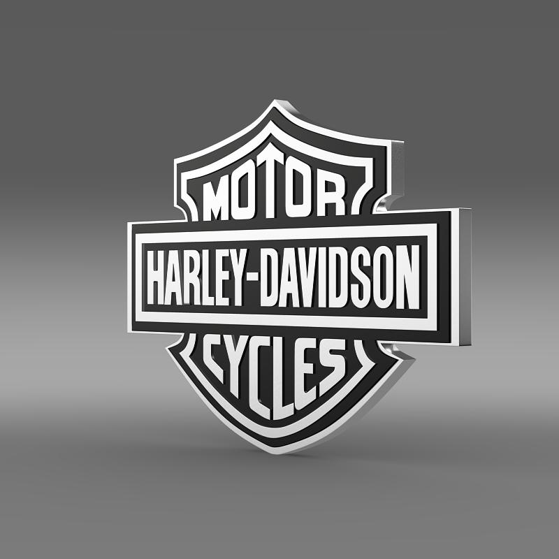 harley-davidson 3d logo 3d model 3ds max fbx c4d lwo ma mb hrc xsi obj 150265