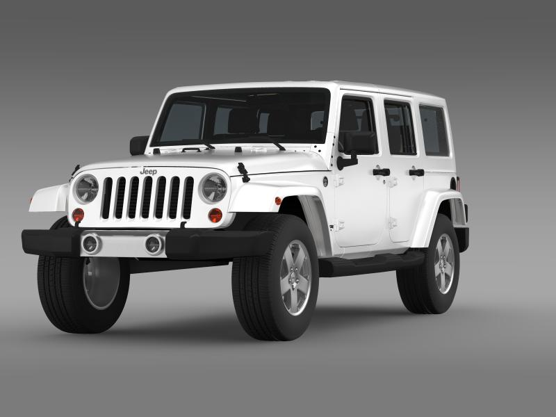 jeep wrangler unlimited 2011 3d model 3ds max fbx c4d lwo ma mb hrc xsi obj 160229