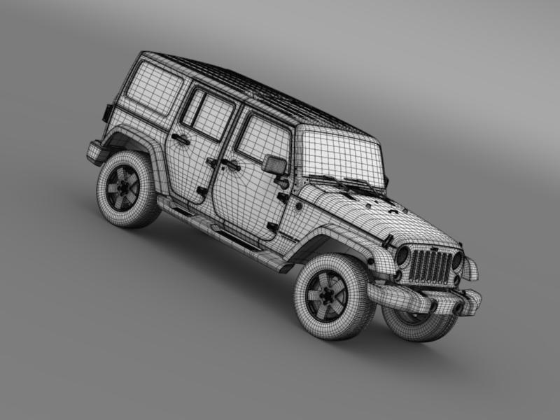 jeep wrangler unlimited 2011 3d model 3ds max fbx c4d lwo ma mb hrc xsi obj 160246