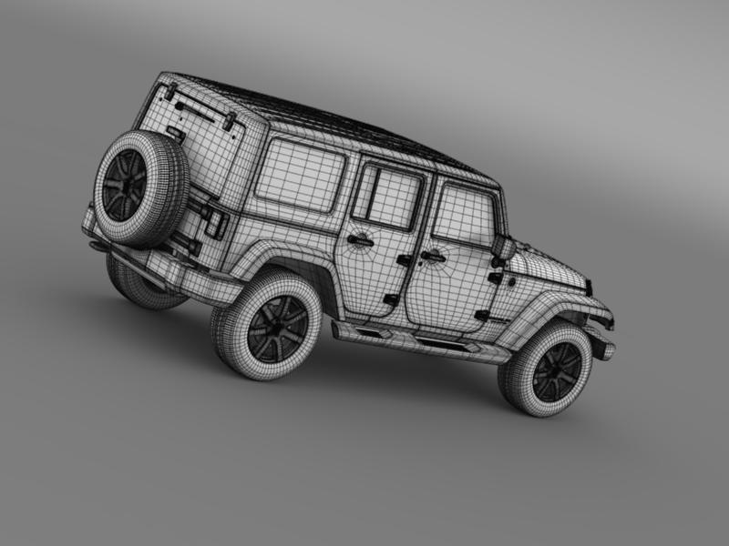 jeep wrangler unlimited altitude 2014 3d model 3ds max fbx c4d lwo ma mb hrc xsi obj 160359
