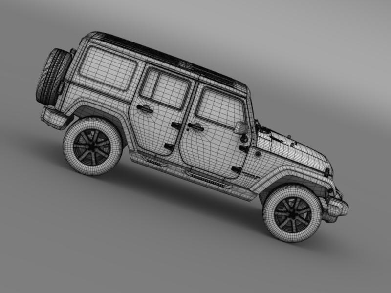 jeep wrangler unlimited altitude 2014 3d model 3ds max fbx c4d lwo ma mb hrc xsi obj 160360