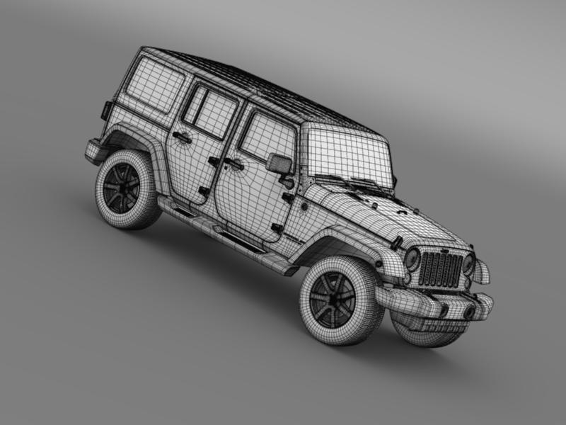 jeep wrangler unlimited altitude 2014 3d model 3ds max fbx c4d lwo ma mb hrc xsi obj 160361