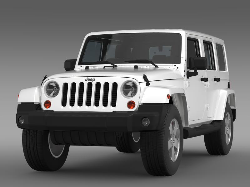 jeep wrangler unlimited sahara eu spec 2011 3d model 3ds max fbx c4d lwo ma mb hrc xsi obj 160291