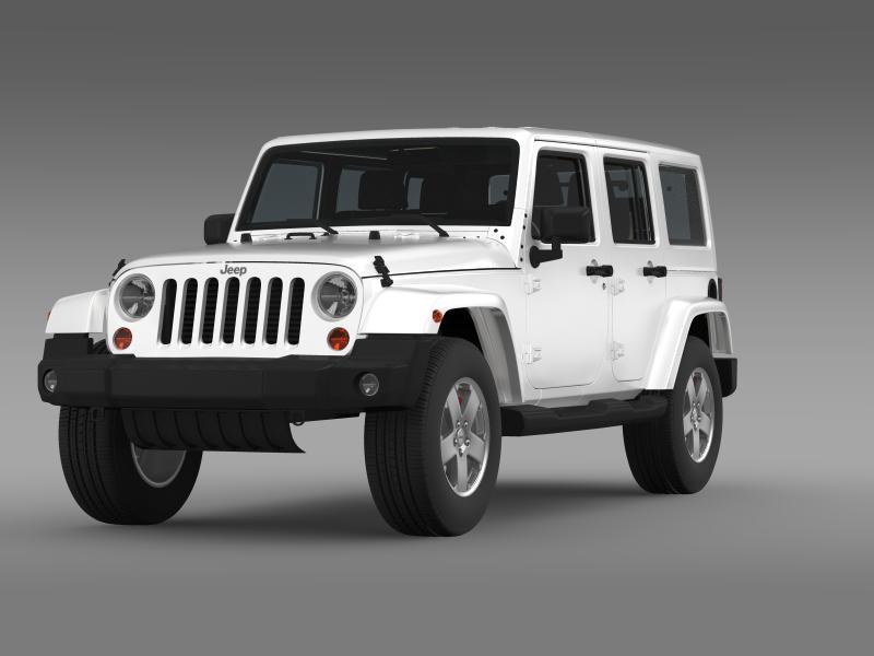 jeep wrangler unlimited sahara eu spec 2011 3d model 3ds max fbx c4d lwo ma mb hrc xsi obj 160292