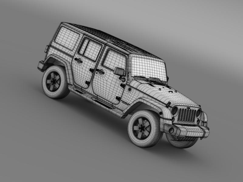 jeep wrangler unlimited sahara eu spec 2011 3d model 3ds max fbx c4d lwo ma mb hrc xsi obj 160309