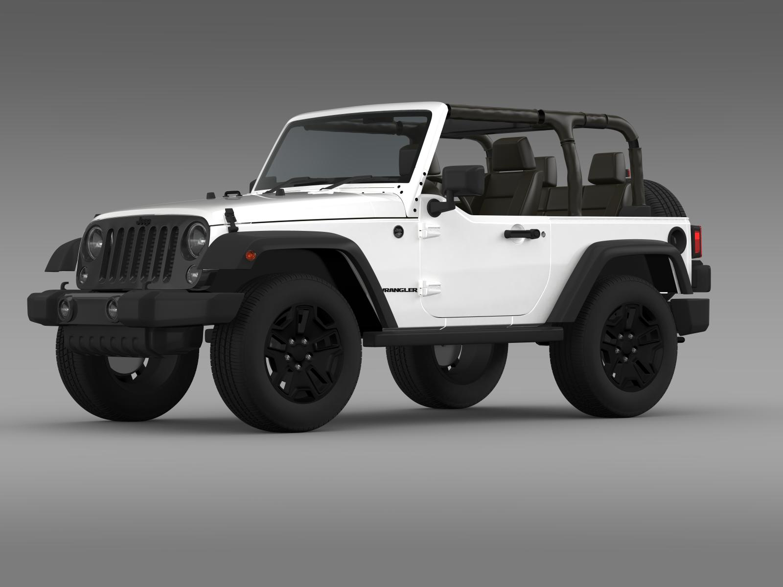 jeep wrangler willys 2014 3d model flatpyramid. Black Bedroom Furniture Sets. Home Design Ideas