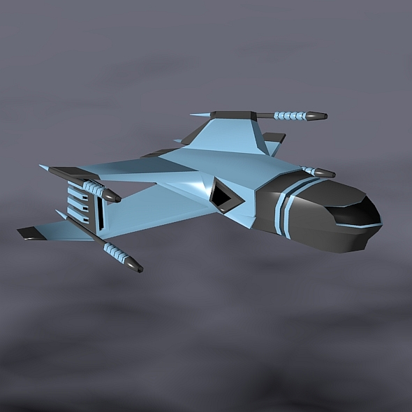 lowpoly space attacker concept 3d model 3ds fbx blend dae lwo obj 164446