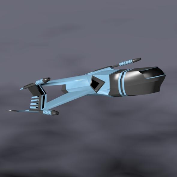 lowpoly space attacker concept 3d model 3ds fbx blend dae lwo obj 164449
