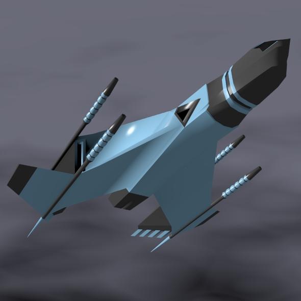 lowpoly space attacker concept 3d model 3ds fbx blend dae lwo obj 164450
