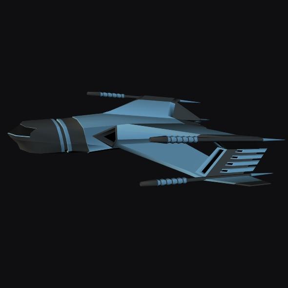 lowpoly space attacker concept 3d model 3ds fbx blend dae lwo obj 164453
