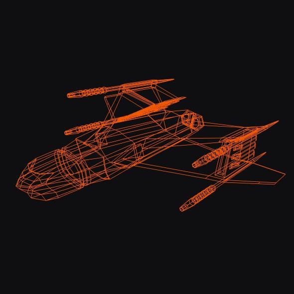 lowpoly space attacker concept 3d model 3ds fbx blend dae lwo obj 164454