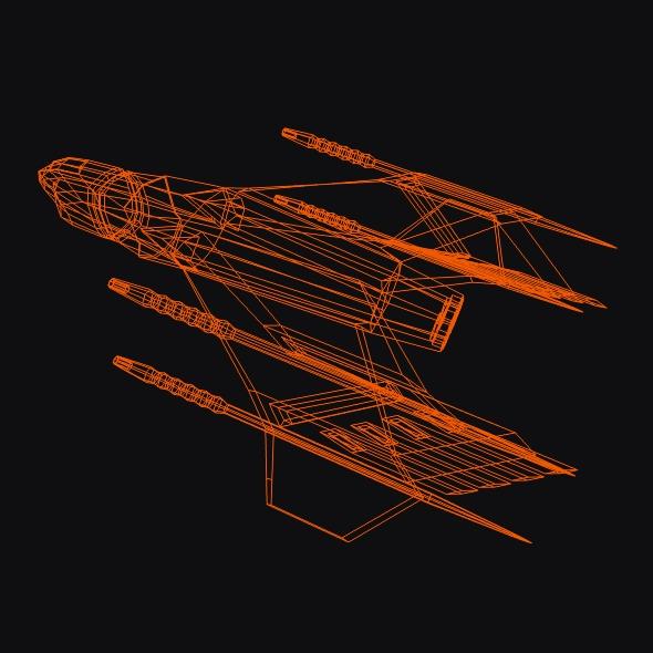 lowpoly space attacker concept 3d model 3ds fbx blend dae lwo obj 164455