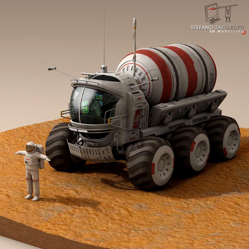 lunar tanker truck & astronaut 3d model 3ds dxf fbx c4d obj 142152