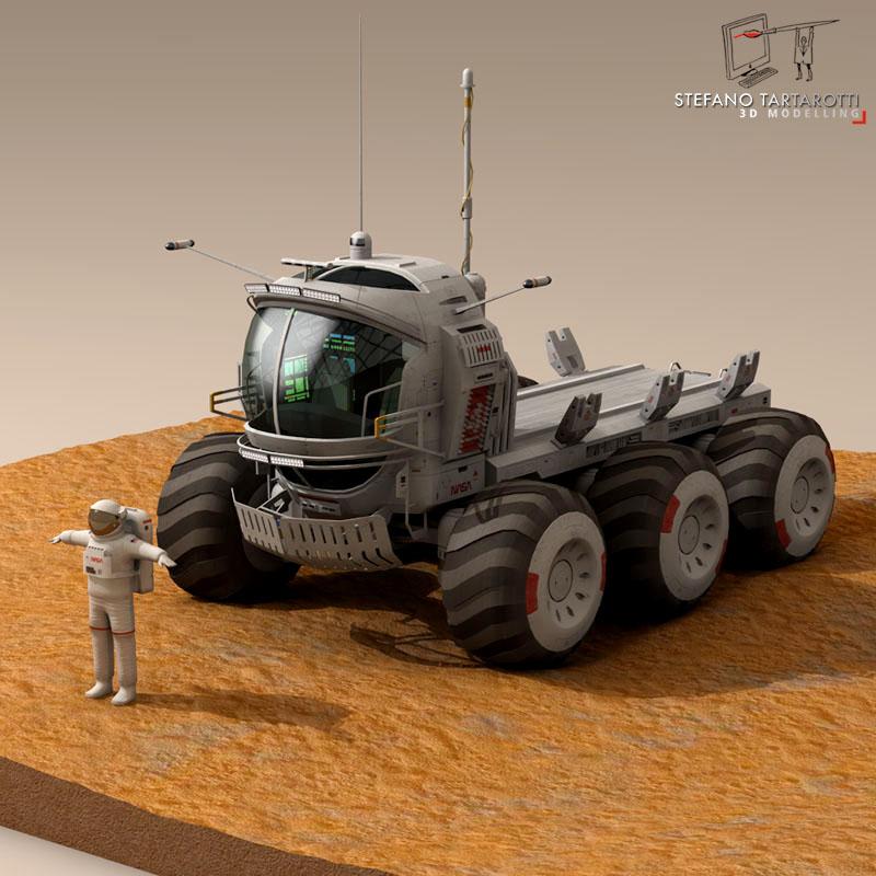 lunar tanker truck & astronaut 3d model 3ds dxf fbx c4d obj 142153