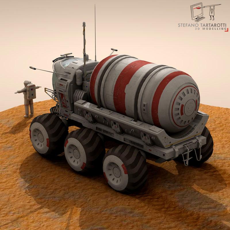 lunar tanker truck & astronaut 3d model 3ds dxf fbx c4d obj 142154