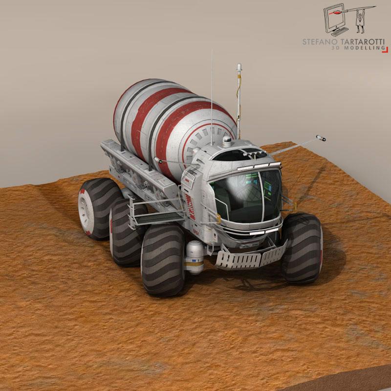 lunar tanker truck & astronaut 3d model 3ds dxf fbx c4d obj 142156