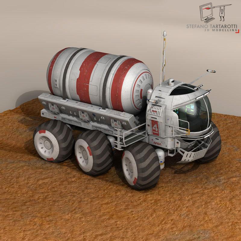 lunar tanker truck & astronaut 3d model 3ds dxf fbx c4d obj 142157