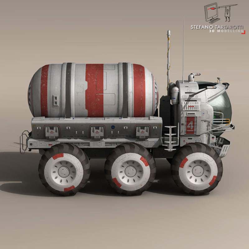 lunar tanker truck & astronaut 3d model 3ds dxf fbx c4d obj 142158