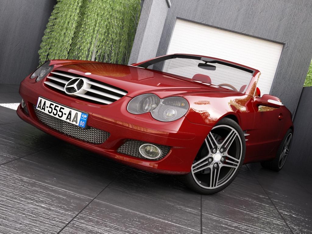 mercedes sl500 kabrió 3d modell 3ds max.