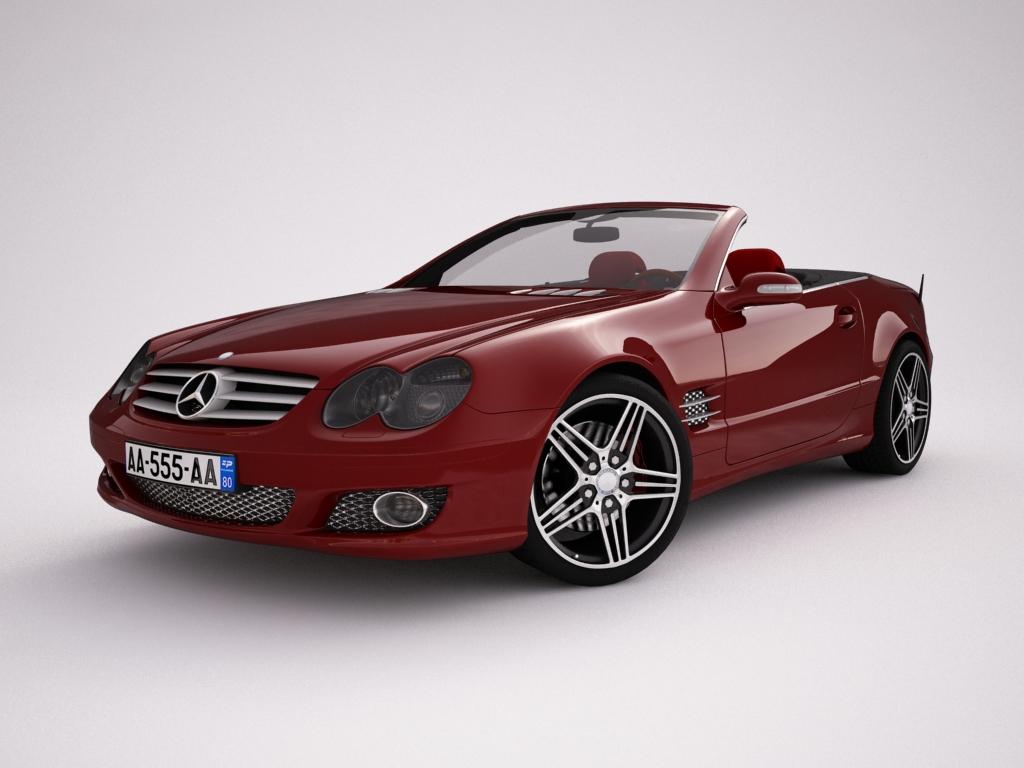 mercedes sl500 kabriolets 3d modelis 3ds max jpeg jpg tekstūra obj 123418