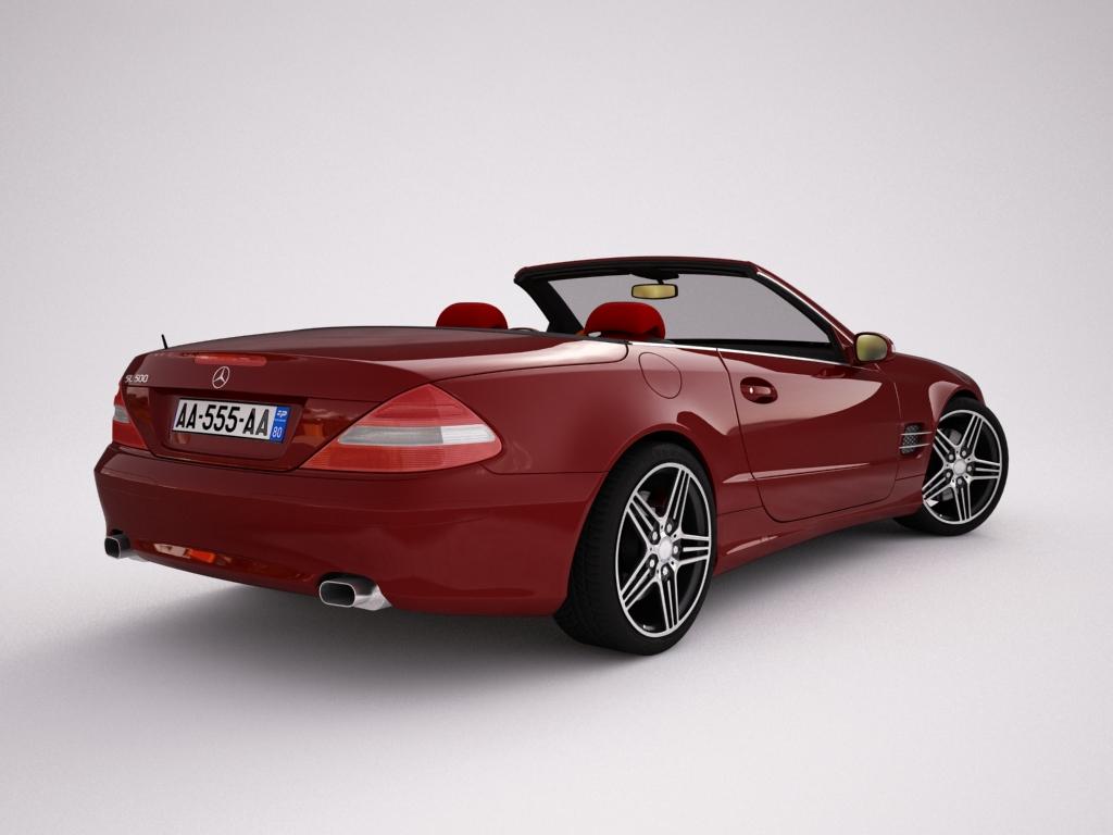 mercedes sl500 kabriolets 3d modelis 3ds max jpeg jpg tekstūra obj 123420