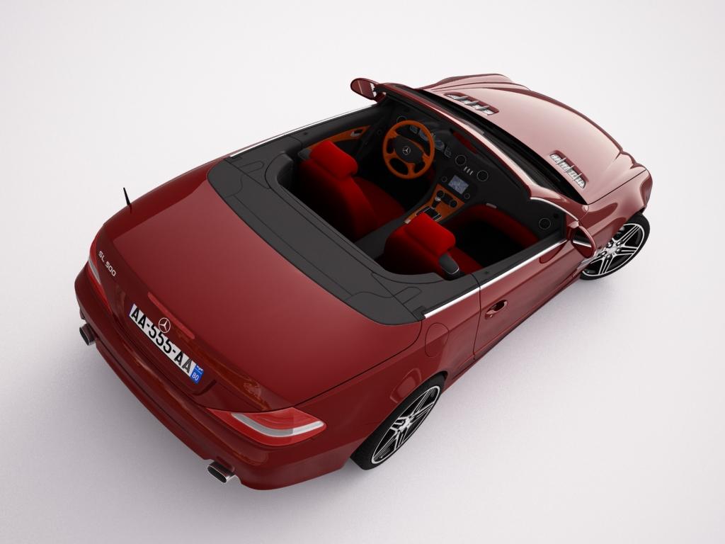 mercedes sl500 kabriolets 3d modelis 3ds max jpeg jpg tekstūra obj 123427