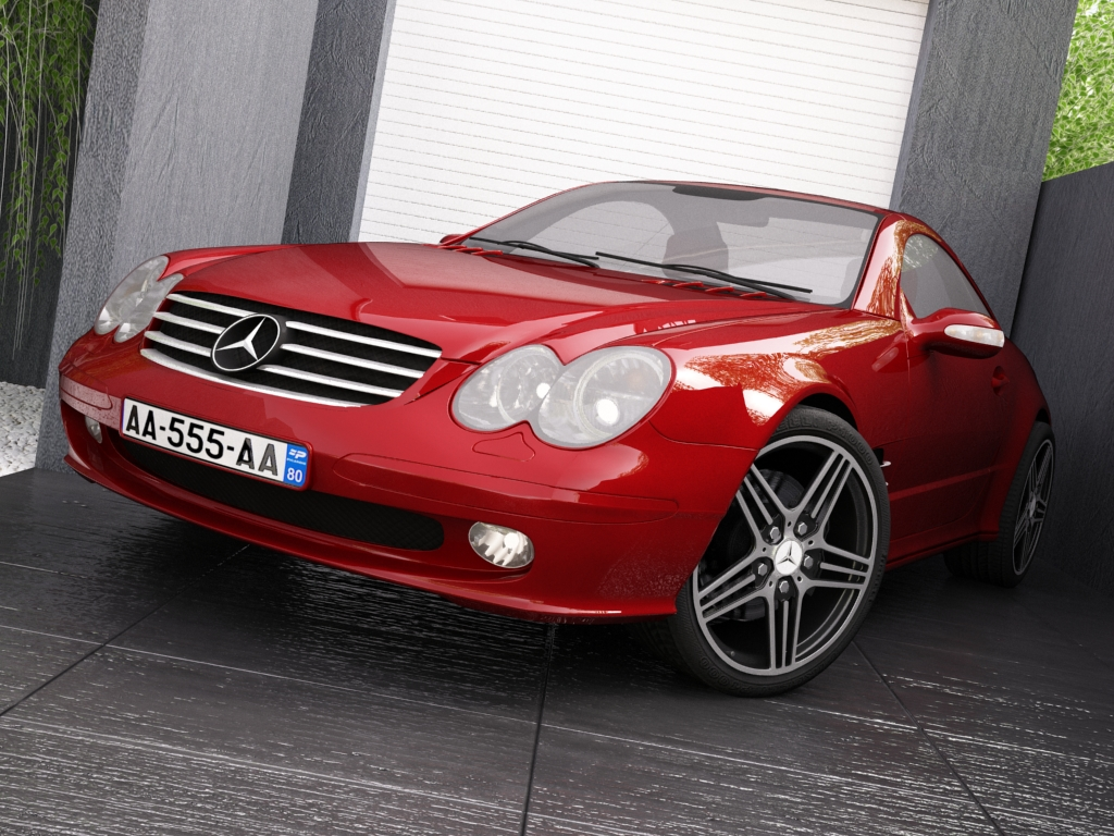 mercedes sl55 3d model 3ds max dxf texture obj other 120369