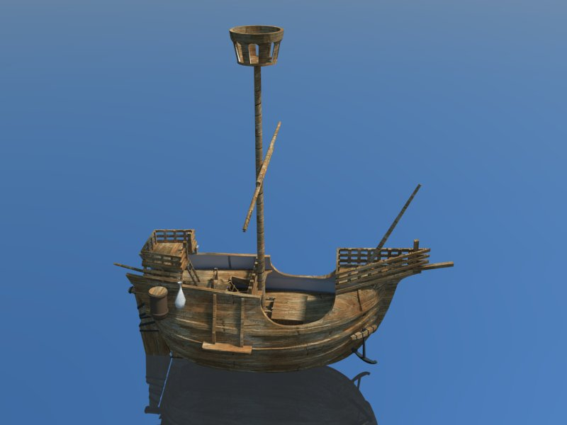 old miniature pirate ship 3d model 3ds dxf dwg skp obj 163639