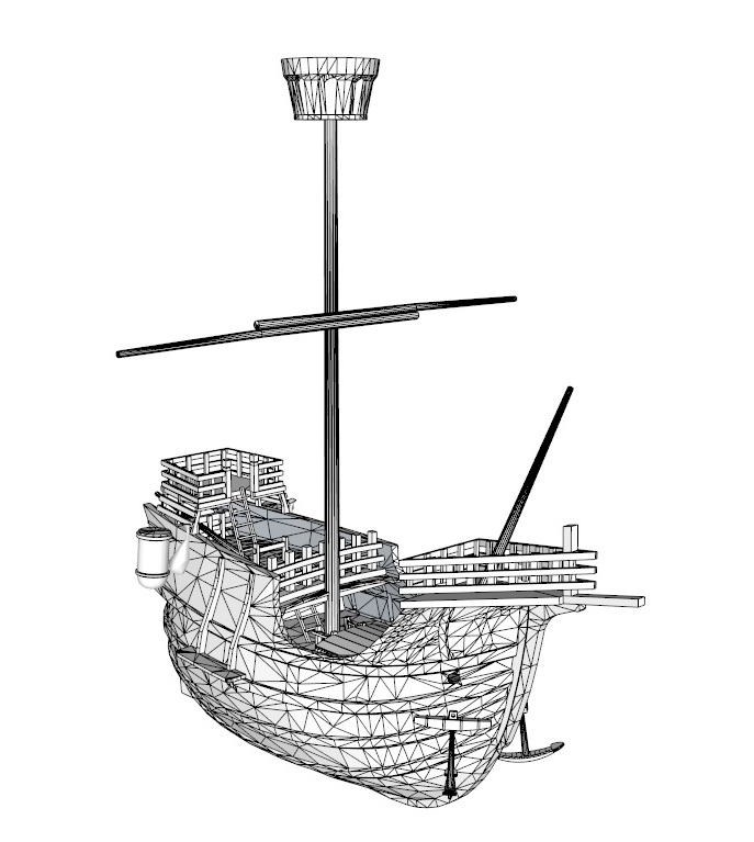 old miniature pirate ship 3d model 3ds dxf dwg skp obj 163643