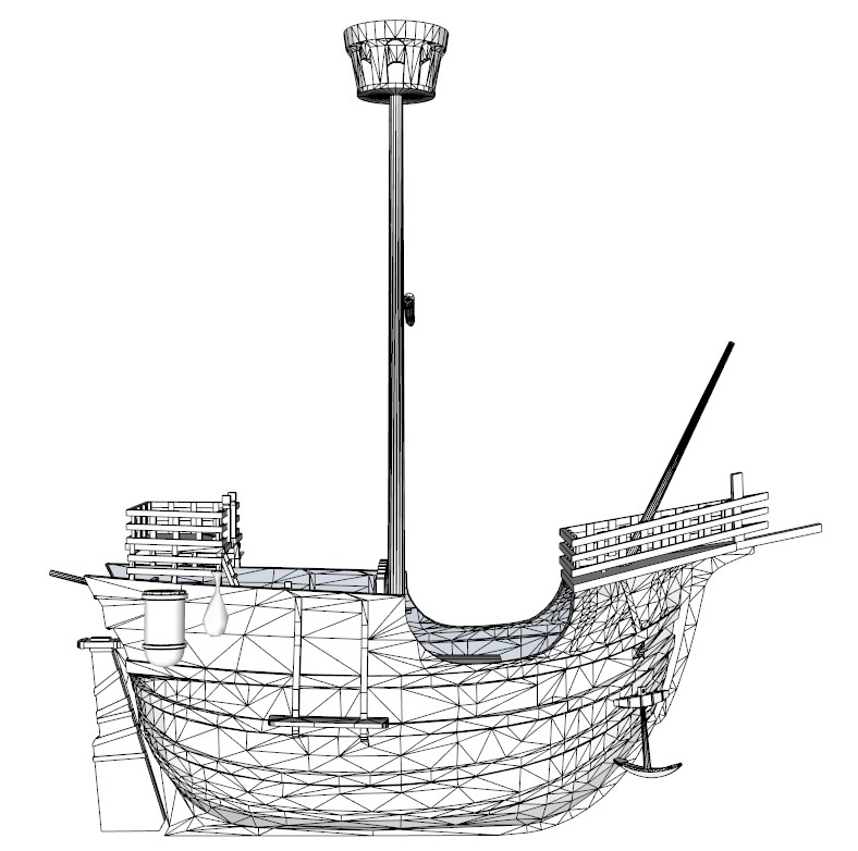 old miniature pirate ship 3d model 3ds dxf dwg skp obj 163644
